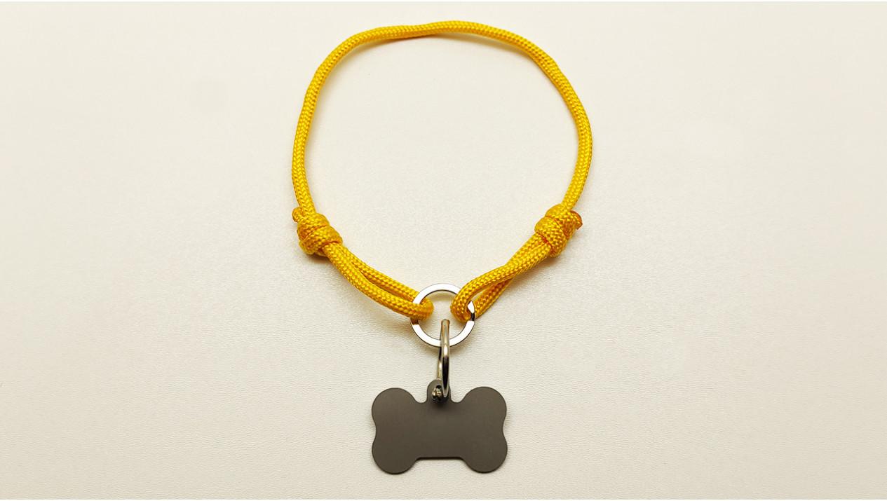 Нашийник - шнур паракордовий жовтий для адресника з двома вузлами і кільцем  (5мм)
