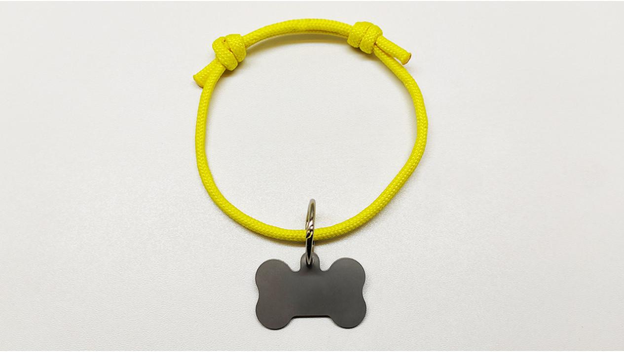 Нашийник - шнур паракордовий жовтий для адресника з двома вузлами (5мм)