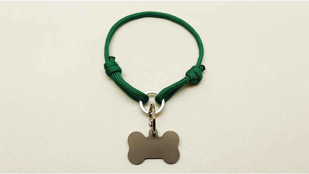 Нашийник - шнур паракордовий зелений для адресника з двома вузлами і кільцем (5мм)