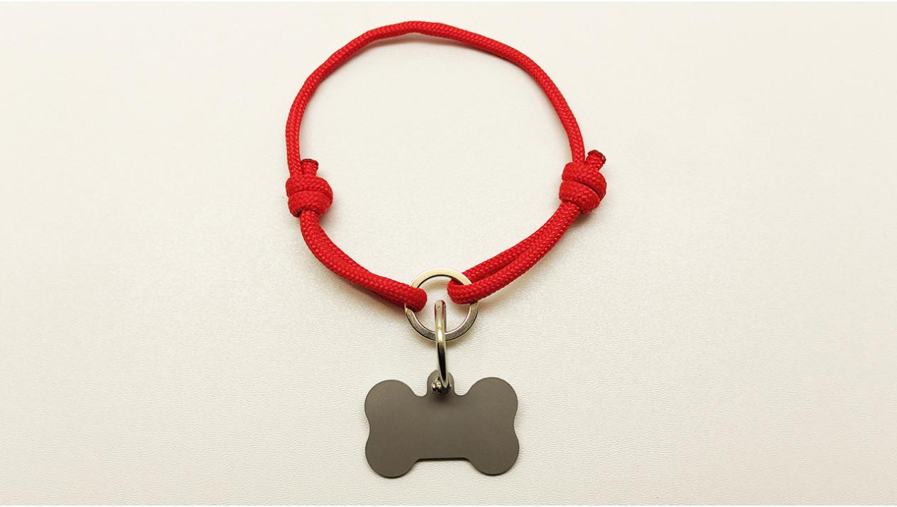 Нашийник - шнур паракордовий червоний для адресника з двома вузлами і кільцем (5мм)