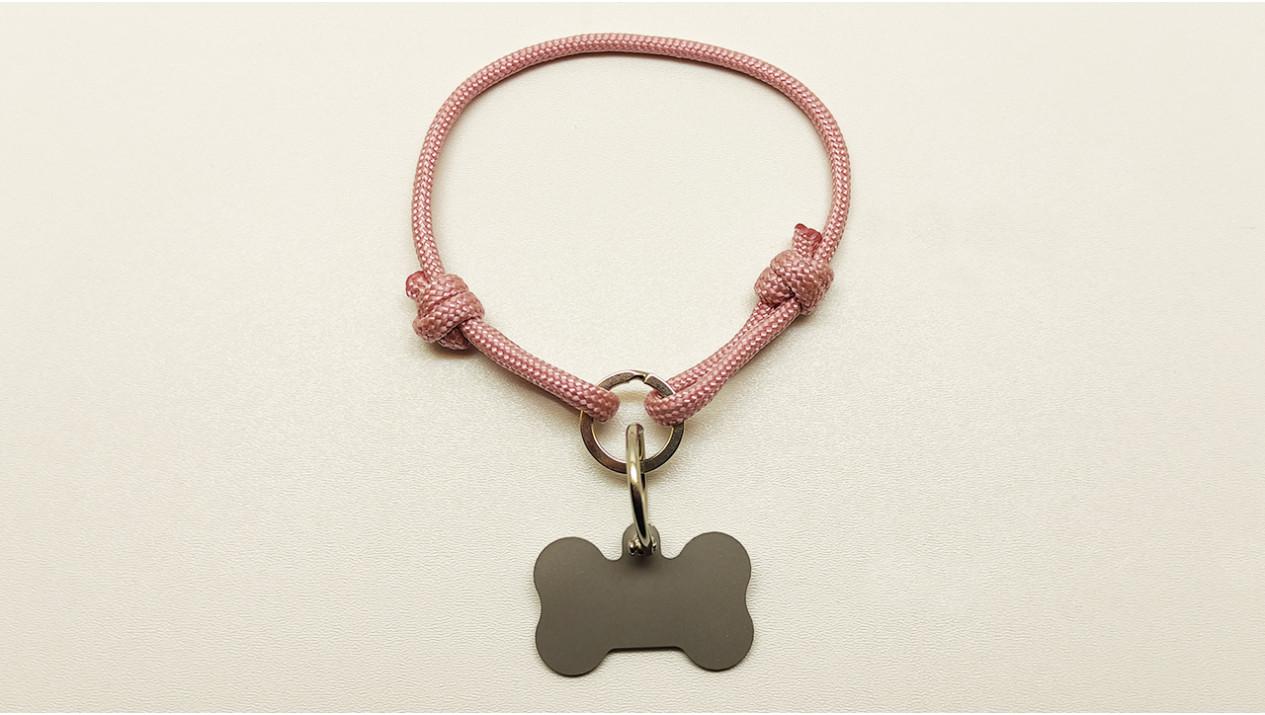 Нашийник - шнур паракордовий рожевий для адресника з двома вузлами і кільцем (5мм)