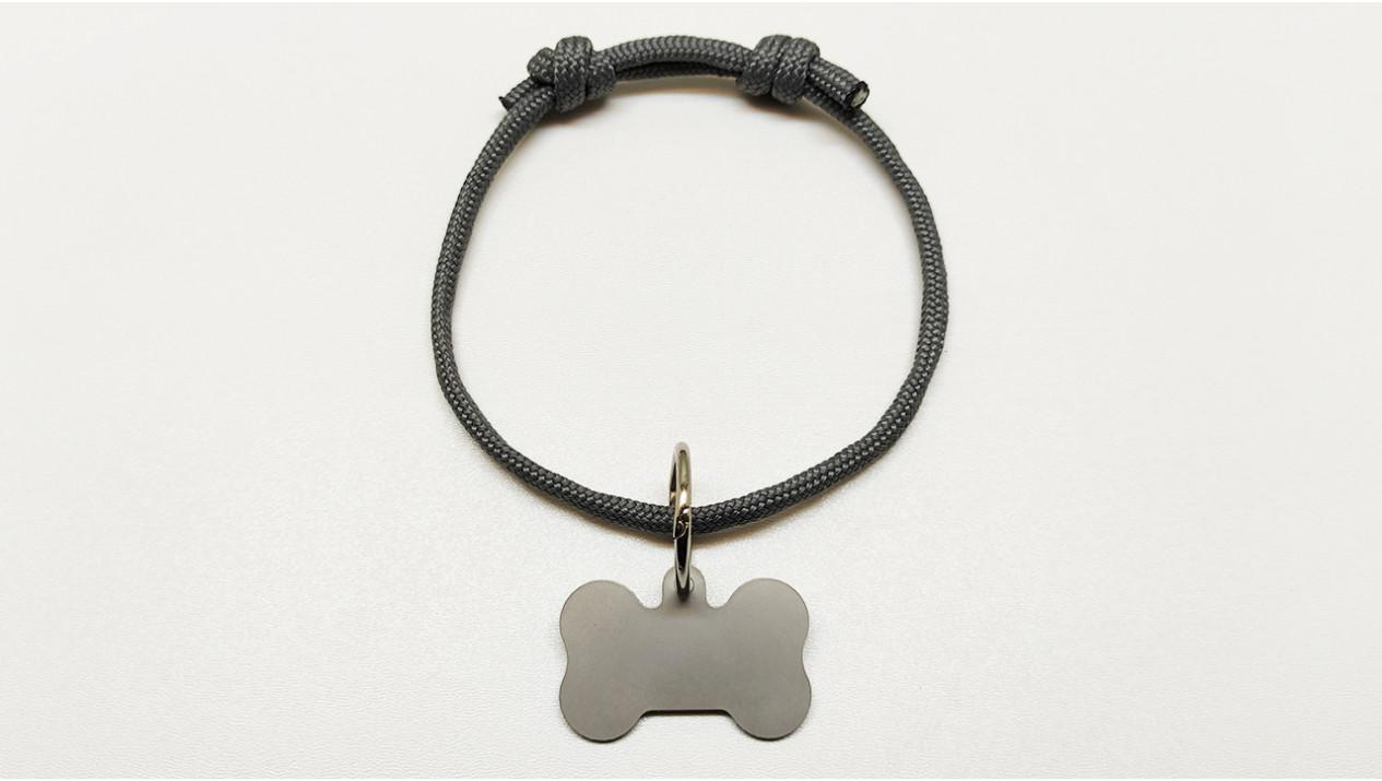 Нашийник - шнур паракордовий сірий для адресника з двома вузлами (5мм)