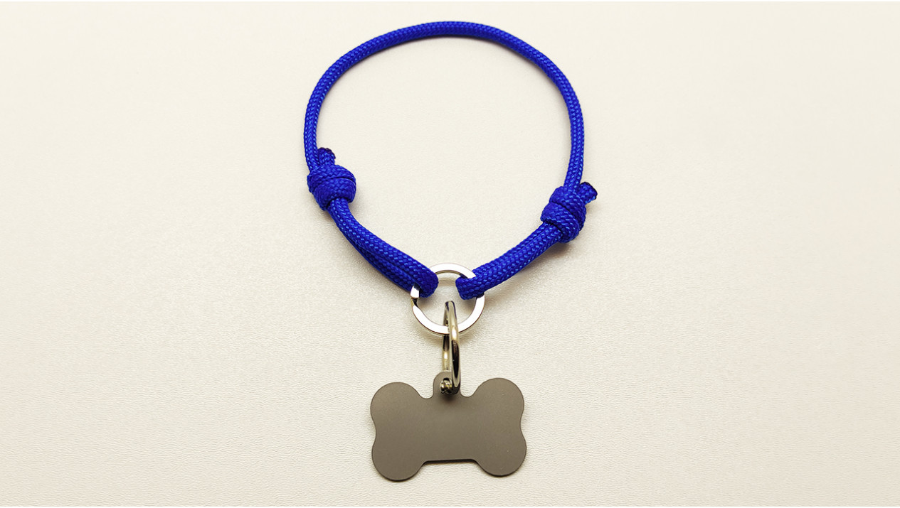 Нашийник - шнур паракордовий синій для адресника з двома вузлами і кільцем (5мм)