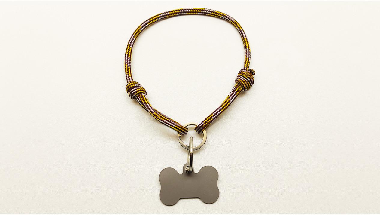 Нашийник - шнур паракордовий коричневий для адресника з двома вузлами і кільцем (5мм)