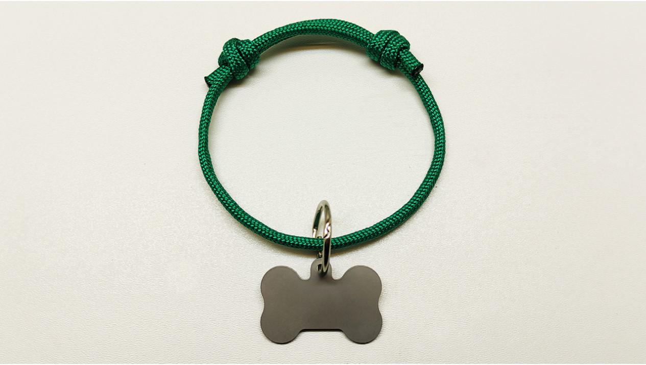 Нашийник - шнур паракордовий зелений для адресника з двома вузлами (5мм)