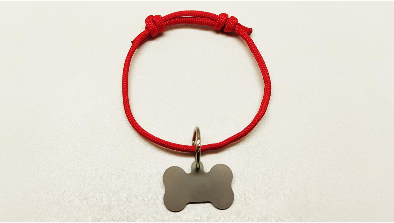 Нашийник - шнур паракордовий червоний для адресника з двома вузлами (5мм)