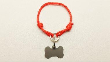 Нашийник - шнур паракордовий помаранчевий для адресника з двома вузлами і кільцем (5мм)