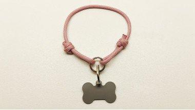 Нашийник - шнур паракордовий рожевий для адресника з двома вузлами і кільцем(5мм)