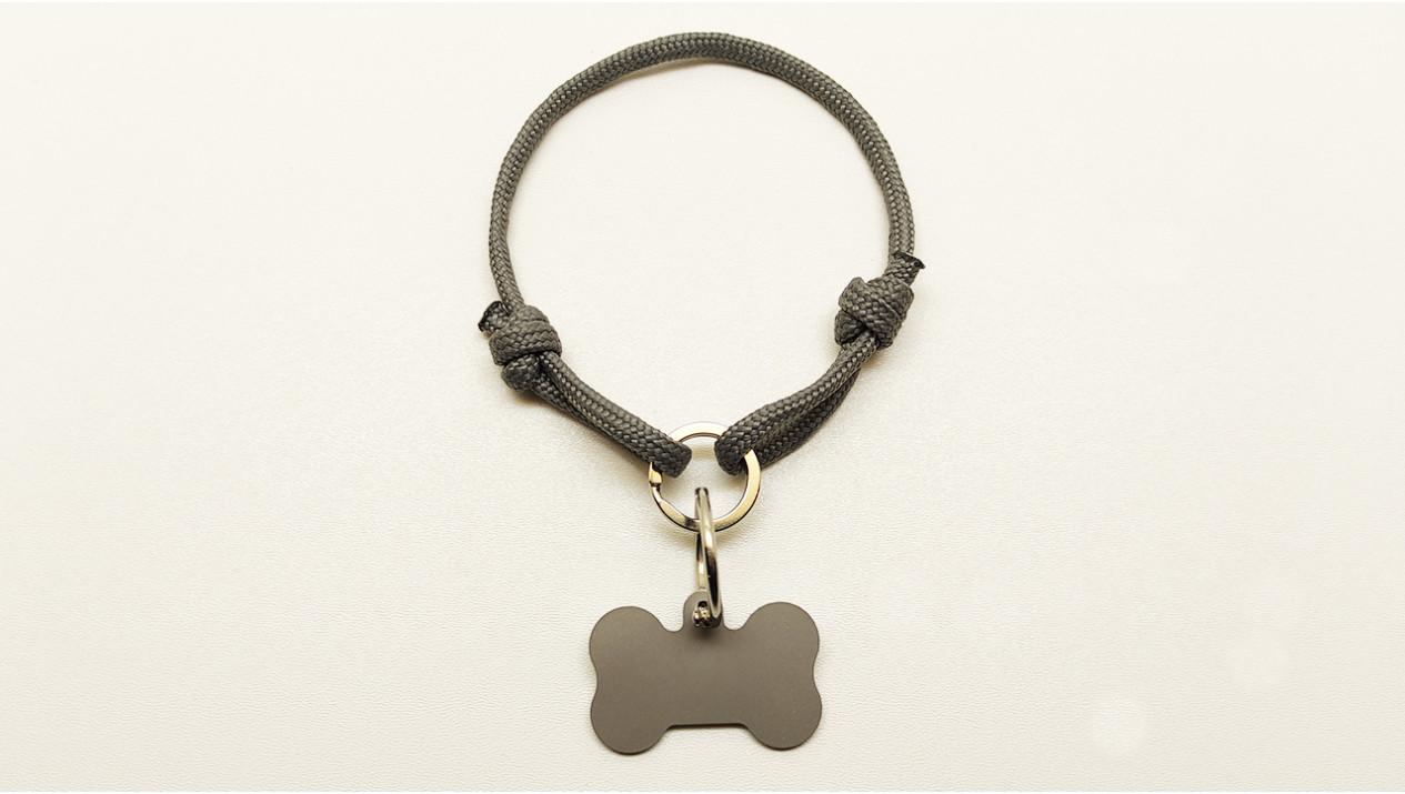 Нашийник - шнур паракордовий сірий для адресника з двома вузлами і кільцем (5мм)