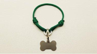 Нашийник - шнур паракордовий зелений для адресника з двома вузлами і кільцем(5мм)