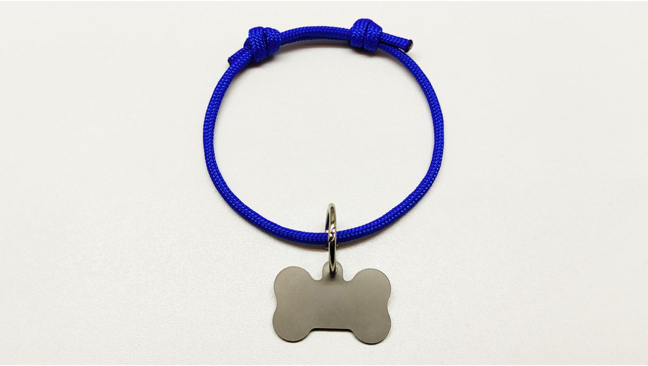 Нашийник - шнур паракордовий синій для адресника з двома вузлами (5мм)