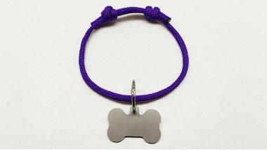 Нашийник - шнур паракордовий фіолетовий для адресника з двома вузлами (5мм)