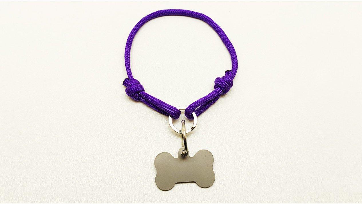Нашийник - шнур паракордовий фіолетовий для адресника з двома вузлами і кільцем (5мм)