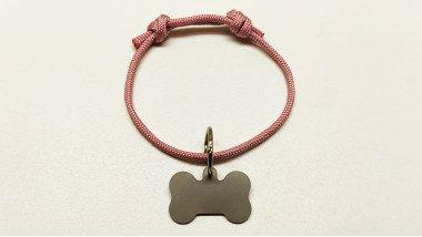 Нашийник - шнур паракордовий рожевий для адресника з двома вузлами (5мм)